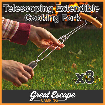 3 x COLEMAN EXTENDIBLE COOKING FORK - TOASTER FORK GREAT FOR CAMP TOAST