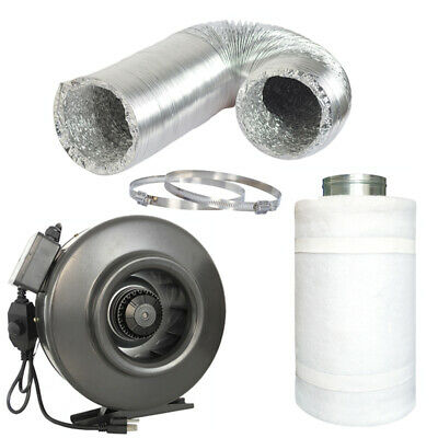 """4"""" 6"""" 8"""" 10"""" 12"""" inch Inline Fan w/ Speed Controller Carbon Filter Ducting Combo"""
