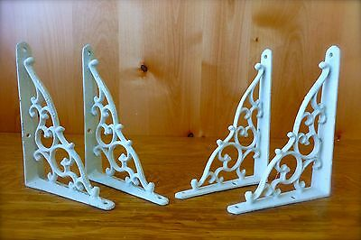 "4 WHITE ANTIQUE-STYLE 7"" SHELF BRACKETS CAST IRON wall rustic garden CLASSIC"