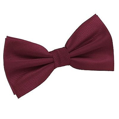 Mens Bow Tie Woven Plain Solid Check Burgundy Formal Adjustable Pretied by DQT