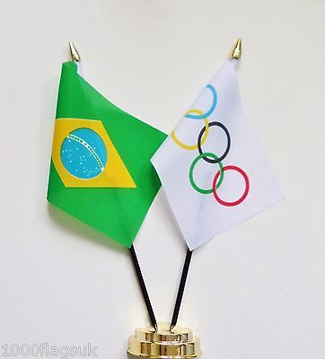 Brazil & Olympic Games IOC Double Friendship Table Flag Set