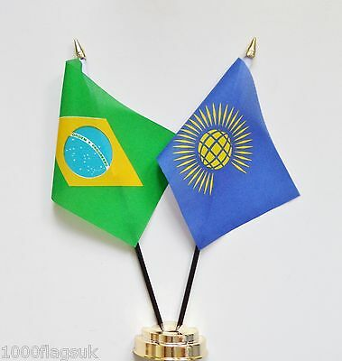 Brazil & Commonwealth Of Nations Double Friendship Table Flag Set