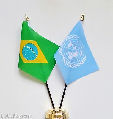 Brazil & United Nations UN Double Friendship Table Flag Set