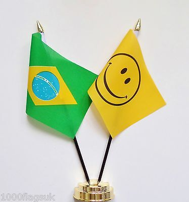 Brazil & Smiley Face Double Friendship Table Flag Set