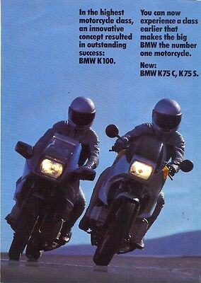 BMW K100 K75C K75S 1985 UK market sales brochure