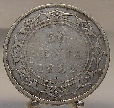 1882 H Canada, Newfoundland Silver 50 Cents, Old Sterling Silver Fifty Cent Coin