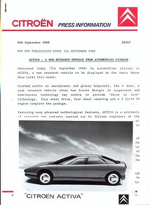 Citroen Activa 1988 - 2 original press photos + press release
