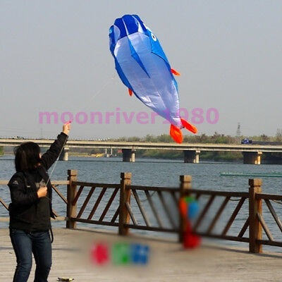 3D Blue Huge Frameless Soft Parafoil Giant Dolphin Kite With 100' line Easy Fly