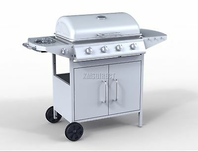 FoxHunter G2087D 4 Burner BBQ Gas Grill Silver Steel Barbecue +1 Side Outdoor