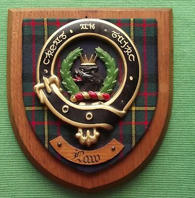 Vintage Scottish Clan Law Tartan Heavy Oak Plaque Crest Shield
