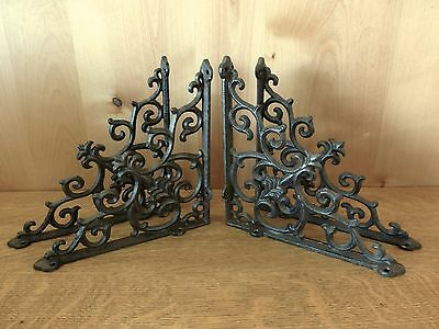"4 BROWN ANTIQUE-STYLE 9.5"" CAST IRON SHELF BRACKETS rustic garden FANCY ORNATE"