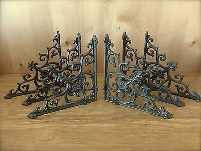 "6 BROWN ANTIQUE-STYLE 9.5"" SHELF BRACKETS CAST IRON rustic garden FANCY ORNATE"