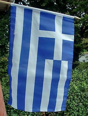 "GREECE LARGE HAND WAVING FLAG 18"" X 12"" with pole greek flags Athens"