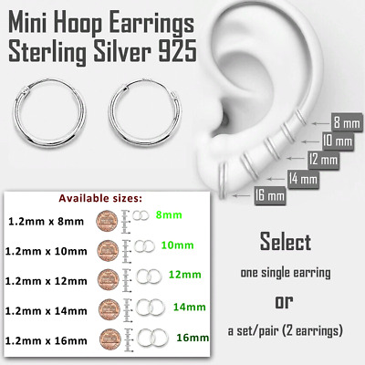 Small Hoop Earrings Sterling Silver 925 Bestseller Jewelry 10mm x 6 pairs Set