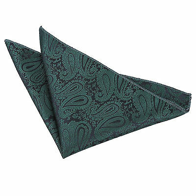 New Dqt High Quality Paisley Men's Handkerchief / Hanky - Emerald Green