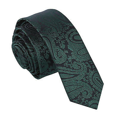 DQT Woven Floral Paisley Emerald Green Formal Wedding Mens Skinny Tie