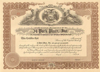 34 Park Place   19__ New York Monopoly old stock certificate