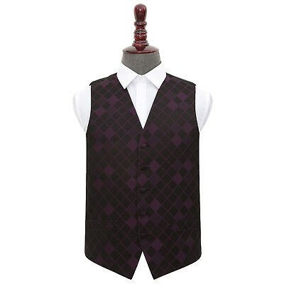 DQT Woven Diamond Patterned Cadbury Purple Formal Mens Wedding Waistcoat S-5XL