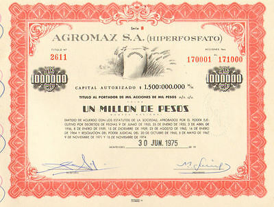 Agromax > 1975 Montevideo Uruguay 1 million pesos old bond certificate