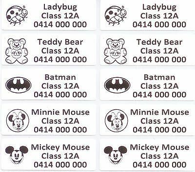 32 IRON ON Personalised Name Stickers Tag / Label for clothing, 4.7 X 1.5 CM