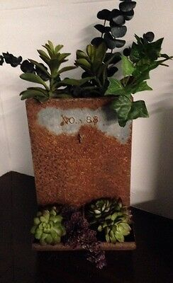 Primitive Wall Hanging Antique Chicken Feeder With Plants