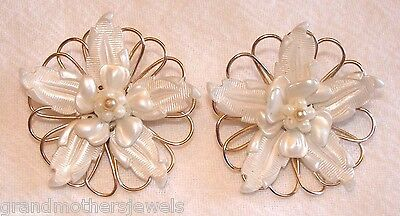 Large Vintage Silver Tone & White Flower Celluloid Clip-On Earrings