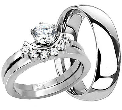 3 Pcs His Hers Stainless Steel Matching Wedding Bridal Matching Ring Set Cz New