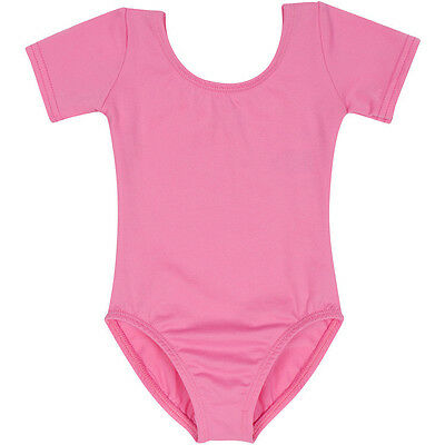 BRIGHT PINK Short Sleeve Leotard for Toddler and Girls