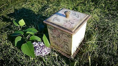 Unique interior handmade box for storage with flowers pattern (Russia)
