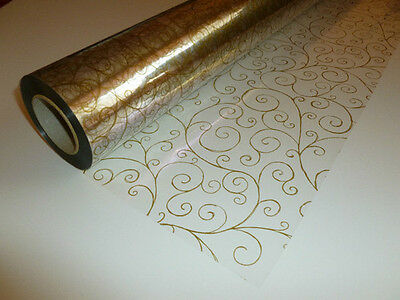 Gold Scroll Swirly Cellophane Roll Gift Hamper Clear Film Florist Wrap 1m - 100m