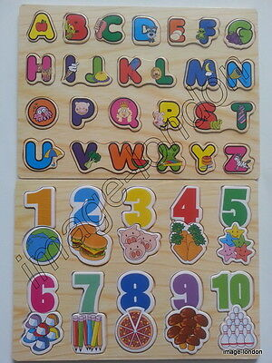 Children Kids Learning Wooden ABC Letters Alphabet or 123 Numbers Puzzle Toys