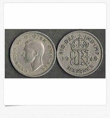 "UK - Great Britain 1948 Wedding Sixpence - ""Something Old something New"" .79 s/h"