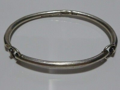 Antique Modern Villasana Mexico Mexican Sterling Silver Hinged Bangle Bracelet