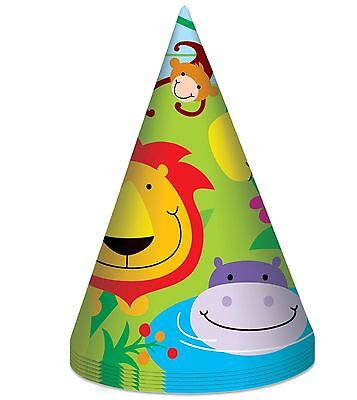 8 Jungle Theme Party Hats Boy Girl Kids Childrens Birthday Zoo Gift Fun Animal