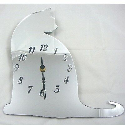 Sitting Cat Clock - Acrylic Mirror (Several Sizes Available)