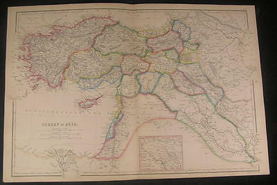 Turkey in Asia Detailed large nice Hughes 1850's fine old vintage antique map