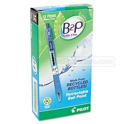 12 Pilot 32801  BeGreen B2P Ball Point Pen Med point Blue ink 1.0mm fine point