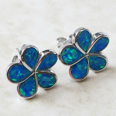 Special Sale Bin $11.99 Blue Opal Flower 925 Sterling Silver Hook Earrings