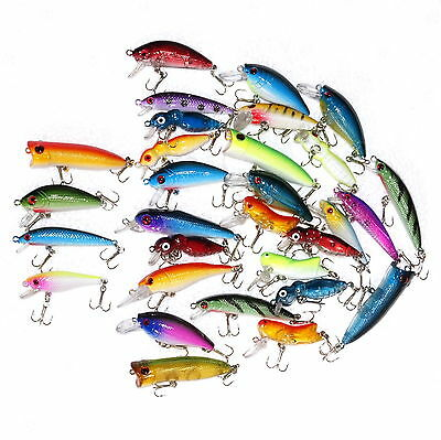 new lot 30pcs minnow fishing lures assorted lure bass crank bait, Soft Baits