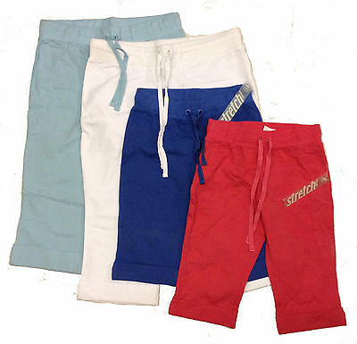 Girls ¾ Cropped Shortie Trousers Summer Pants Sports PE PJs 100% Cotton Size