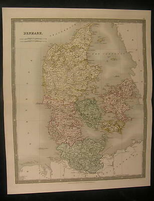 Denmark 1831 by Dower fine old vintage antique hand colored map