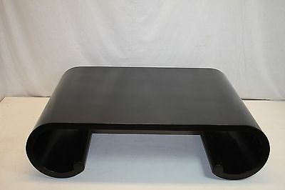 Mid Century Black Ebony Large Coffee table with Rolled in Base Nice!