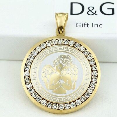 DG Silver,Gold Stainless Steel,PRAYER ANGEL 35mm,CZ Eternity Pendant**Unisex*Box
