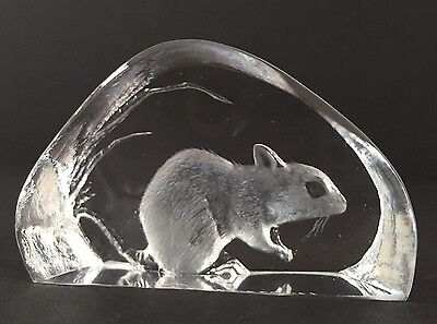 Mats Jonasson Field Mouse Lead Crystal 3D Etched Signed Paperweight Sweden Rat