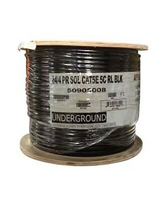 500ft Cat5E Outdoor/Burial Underground CMX Network Ethernet UTP Cable Black