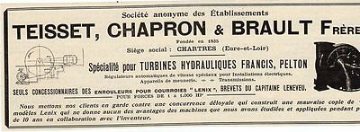 Teisset Chapron Brault Turbines Hydrauliques Chartres Publicite 1914 French Ad