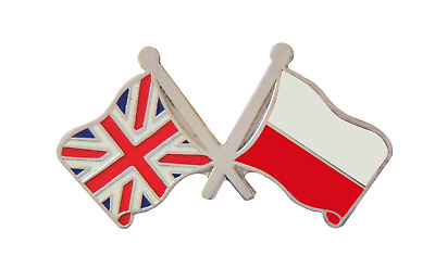 Poland Flag & United Kingdom Flag Friendship Courtesy Pin Badge - T352X