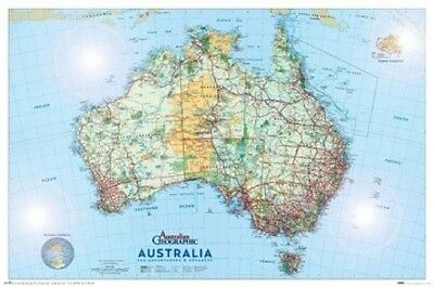 AUSTRALIA MAP POSTER 61x91cm NEW glossy surface Australian Geographic Adventurer