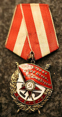 FIGHTING WW II ORIGINAL SILVER USSR ORDER RED BANNER №  368250 Rare