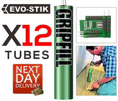 12 Tubes 350ml GRIPFILL Green Gap Fill Adhesive High Performance No Nails Grip